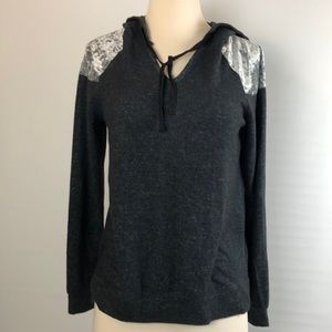 Hippie Rose Charcoal Combo Hoodie Sweater Medium